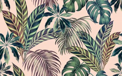 Obraz Watercolor painting colorful tropical leaf,green leave seamless pattern background.Watercolor hand drawn illustration tropical exotic leaf prints for wallpaper,textile Hawaii aloha summer style..