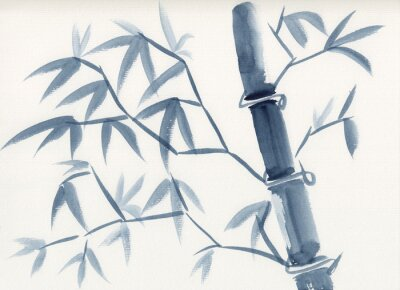 Obraz Watercolor painting of asian bamboo stem with leaves in sumie-e ink style. Hand drawn oriental style serene landscape. Concept for decoration, relaxation, restore, mindful meditation background.