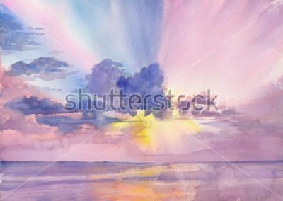 Obraz Watercolor purple clouds in the seaside sky