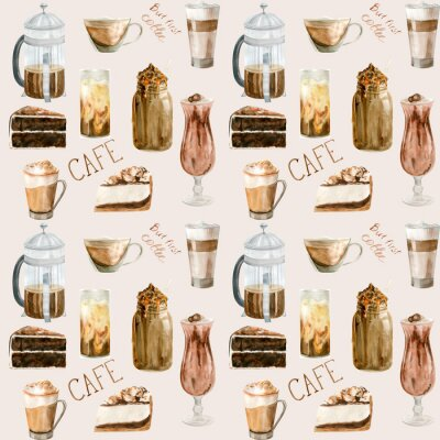 Obraz Watercolor seamless pattern with illustrations of coffee cup, coffee beans, coffee grinder, cappuccino, latte and desserts