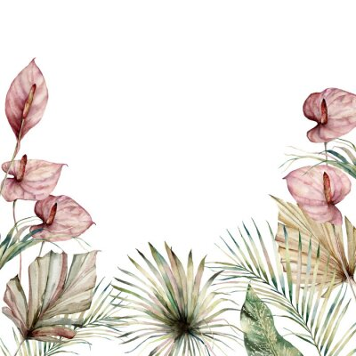 Obraz Watercolor tropic border with anthurium and palm leaves. Hand painted frame with flowers and plant isolated on white background. Floral holiday illustration for design, print, background.