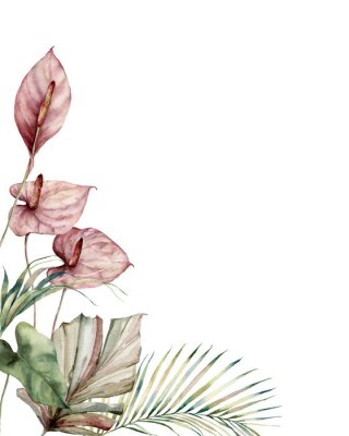 Obraz Watercolor tropic card with anthurium and palm leaves. Hand painted frame with flowers and plant isolated on white background. Floral illustration for design, print, background. Invitation template.