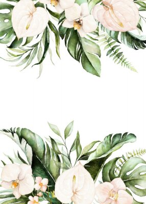 Obraz Watercolor tropical floral border - green, blush leaves & flowers . For wedding stationary, greetings, wallpapers, fashion, background.