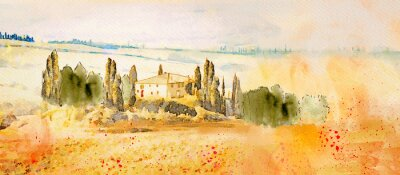 Obraz Watercolor Tuscany. Countryside landscape