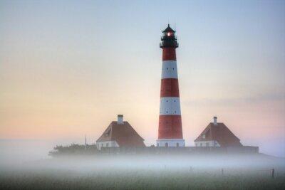 Obraz Westerhever maják v mlze Sunrise