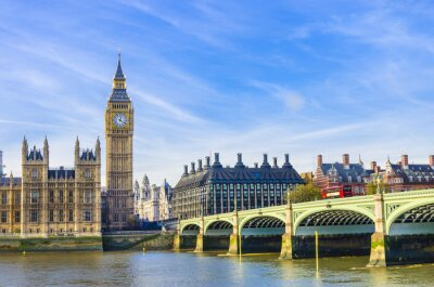 Obraz Westminster Bridge, Houses of Parliament a Temže řeka ve Velké Británii