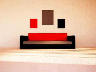 white sofa in the room, 3d