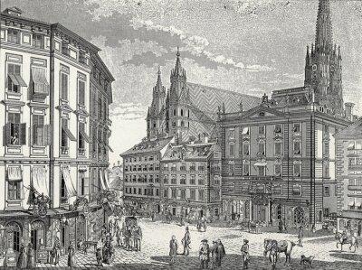Obraz Wien, Sklad-im-Eisen-Platz Ende 18. Jh., Kupferstichvorlage