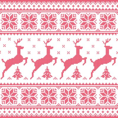 Obraz Winter, Christmas red seamless pixelated pattern with deer