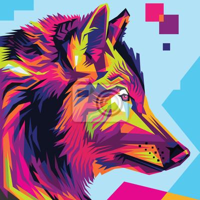Obraz Wolf hlava pop art umění ilustrace