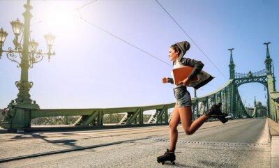 Obraz Woman running to school