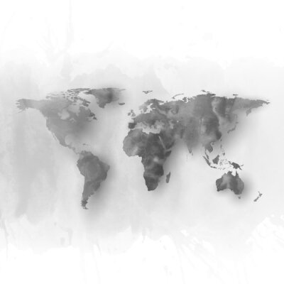 Obraz World map element, abstract hand drawn watercolor gray