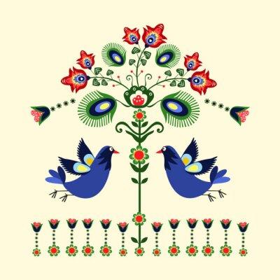 Obraz Wzór haftu z ptakami
