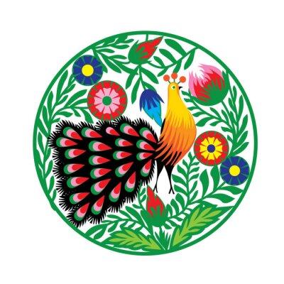 Obraz wzór Ludowy Z kwiatami i pawiem, Łowicki