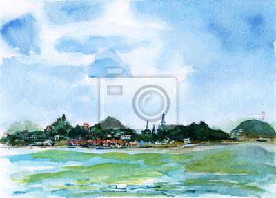 Xiamen Gulangyu Island akvarel