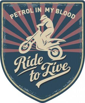 Obraz Мотоциклист, Ездить, чтобы жить, Бензин в мойй крови, Мотоцикл, Мотокросс, нашивка, иллюстрация