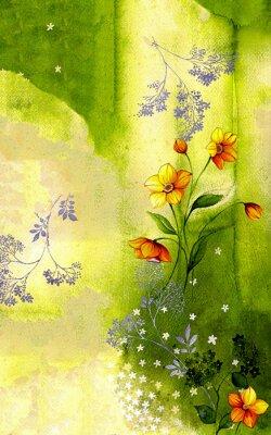 Obraz 수채화 배경 위에 그려진 수선화 줄기 와 싸리 꽃