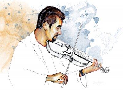 Obraz Рисунок-иллюстрация ,, Музыкант играет на скрипке ,,.