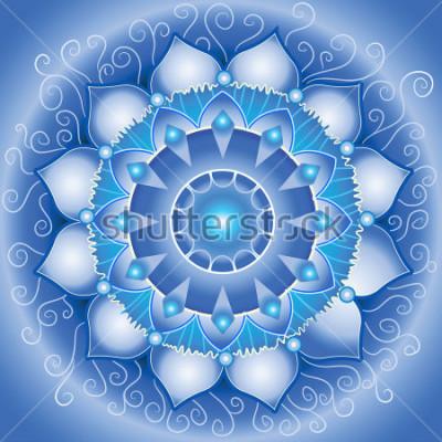 Obraz abstractní modrý vzor, mandala vishuddha chakra vektor