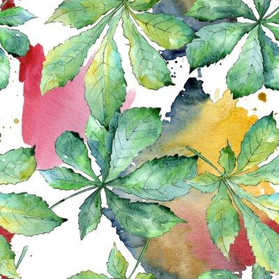 Obraz Bezproblémový vzorek pozadí. Akvarelové listy na pozadí, textura, obalový vzor, rám nebo okraj.