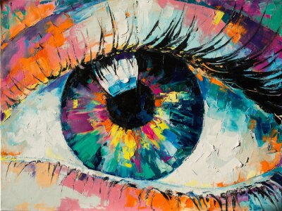 """Obraz """"Fluorite"""" - oil painting. Conceptual abstract picture of the eye. Oil painting in colorful colors. Conceptual abstract closeup of an oil painting and palette knife on canvas."""