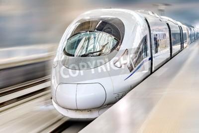 Obraz Moderní Hi-Speed osobní vlak. Motion efekt.