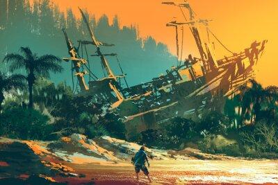 Obraz trosečníka muž stojící na pláži ostrova s opuštěné lodi při západu slunce, ilustrace malba