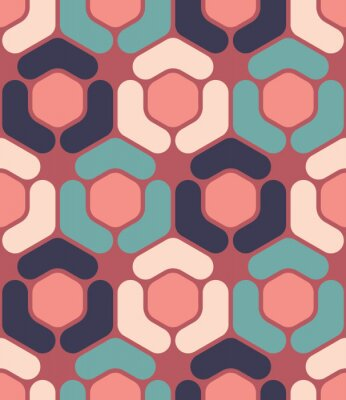 Obraz Vector moderní bezešvé barevný geometrie hexagon vzor, barva abstraktní geometrické pozadí, polštář vícebarevný tisk, retro textura, hipster módní design