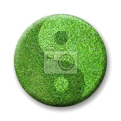 ying yang odznak s trávou textury
