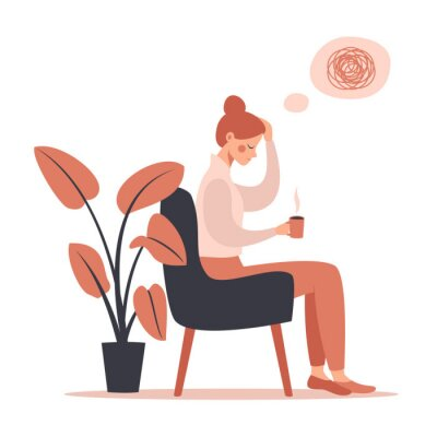 Obraz Young woman with headache drinking hot coffee while sitting in chair. Vector illustration isolated from white background