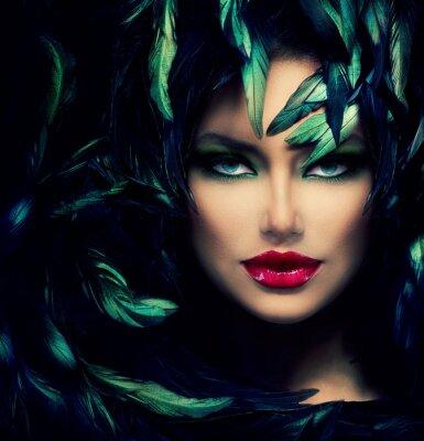 Obraz Záhadná žena portrét. Krásný model žena tvář closeup