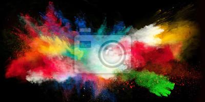 Obraz Zahájena barevný prášek na černém pozadí