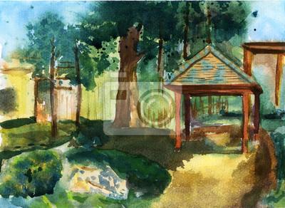 zahrada ilustrace akvarel