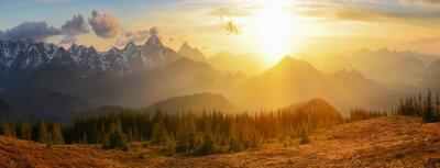 Obraz Západ slunce hory