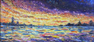 Obraz Západ slunce nad jezerem, olejomalba