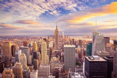 Obraz Západ slunce pohled na New York City dívá na Manhattanu