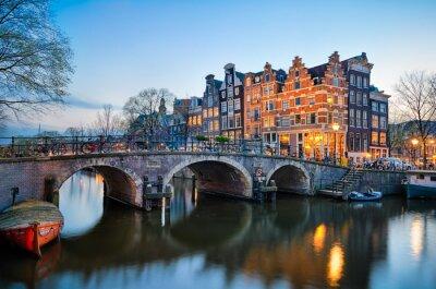 Obraz Západ slunce v Amsterdam, Nizozemsko