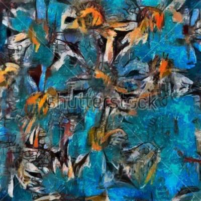 Obraz Zátiší kytice sedmikrásky v modrém váze. Expresivní provedení pastace. Olej na plátně s prvky pastel malování v moderním stylu.