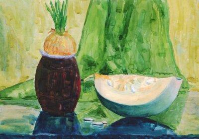 Obraz Zátiší s dýní. akvarelu