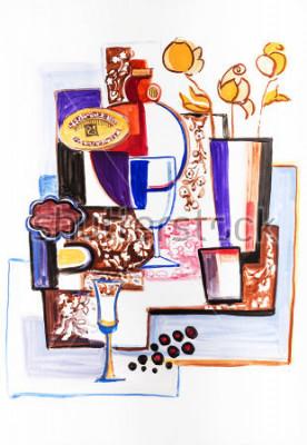 Obraz Zátiší s keramickými lahvemi