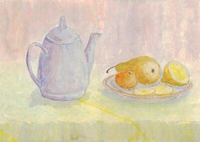 Obraz Zátiší s konvicí a ovoce. Hruška, citron, mandarinka na talíři. akvarelu