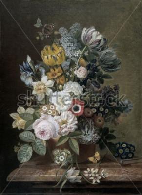 Obraz Zátiší s květinami, od Eelke Jelles Eelkema, c. 1815-39, holandská olejomalba, olej na plátně. Kytice růží, tulipánů, narcisů, kosatců, na kamenném podstavci. Mezi květinami je motýl. Sma