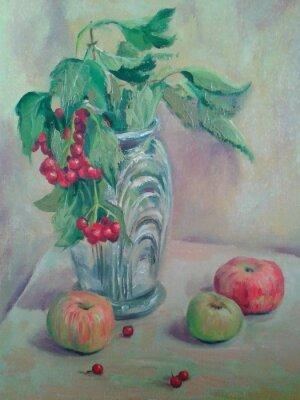 Obraz Zátiší s kyticí a ovocem. Jablka a červeného rybízu. Olejomalba