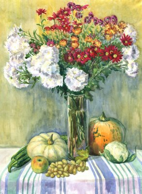 Obraz Zátiší s kyticí květin, ovoce a zeleniny. akvarelu