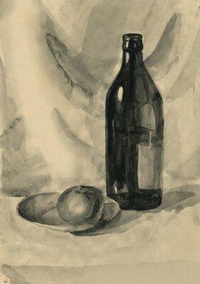 Obraz Zátiší s lahví a jablko, akvarel
