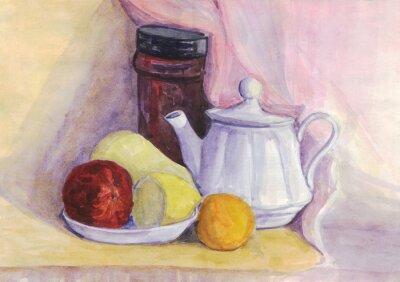 Obraz Zátiší s ovocem a rychlovarnou konvicí. Hruška, citron, mandarinka na talíři. akvarelu