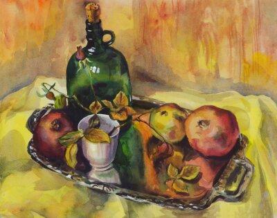 Obraz Zátiší s růžemi, granátová jablka a láhev vína na podnose. akvarelu