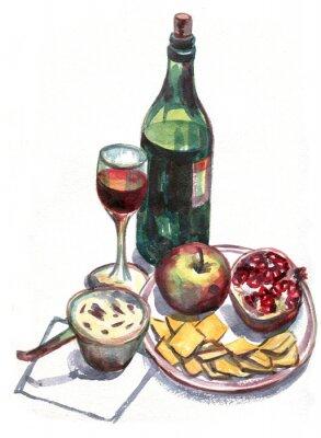 Obraz Zátiší s vínem a ovocem. akvarelu