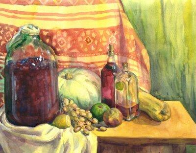 Obraz Zátiší s vínem, ovocem a zeleninou. akvarelu