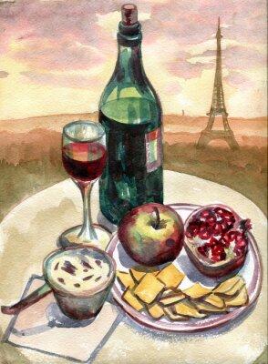 Obraz Zátiší v přední části Eiffelovy věže v Paříži. akvarelu